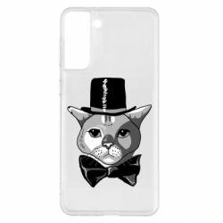 Чохол для Samsung S21+ Black and white cat intellectual