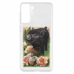 Чехол для Samsung S21+ Black pig and flowers