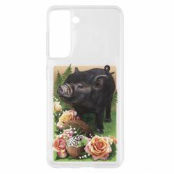 Чехол для Samsung S21 Black pig and flowers
