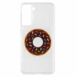 Чохол для Samsung S21 Brown donut on a background of patterns