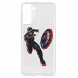 Чехол для Samsung S21+ Captain america with red shadow