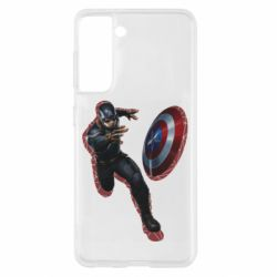 Чехол для Samsung S21 Captain america with red shadow