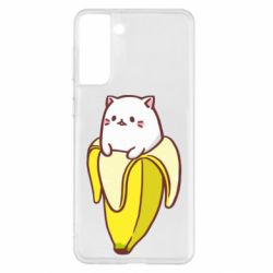 Чехол для Samsung S21+ Cat and Banana