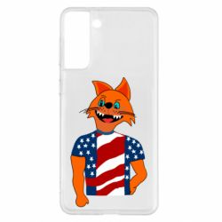 Чехол для Samsung S21+ Cat in American Flag T-shirt
