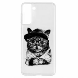 Чохол для Samsung S21+ Cat in glasses and a cap