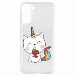 Чохол для Samsung S21+ Cat unicorn and strawberries