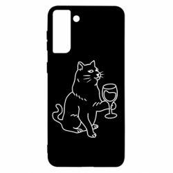 Чохол для Samsung S21+ Cat with a glass of wine