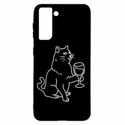 Чохол для Samsung S21 Cat with a glass of wine