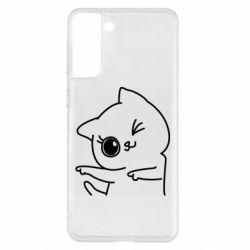 Чехол для Samsung S21+ Cheerful kitten