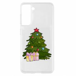 Чехол для Samsung S21 Christmas tree and gifts art