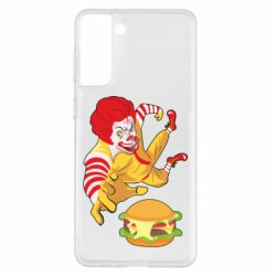 Чехол для Samsung S21+ Clown in flight with a burger