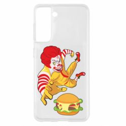 Чехол для Samsung S21 Clown in flight with a burger