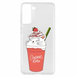 Чехол для Samsung S21+ Cocktail cat and strawberry