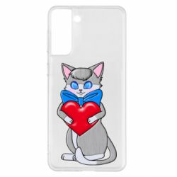 Чехол для Samsung S21+ Cute kitten with a heart in its paws