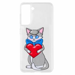 Чехол для Samsung S21 Cute kitten with a heart in its paws