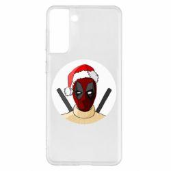 Чехол для Samsung S21+ Deadpool in New Year's hat