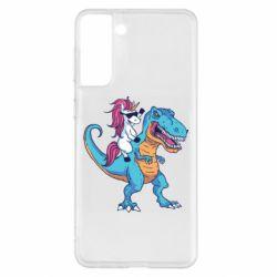 Чохол для Samsung S21+ Єдиноріг і динозавр