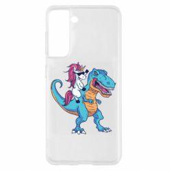 Чохол для Samsung S21 Єдиноріг і динозавр