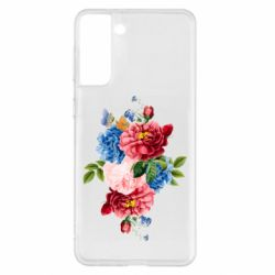 Чохол для Samsung S21+ Flowers and butterfly