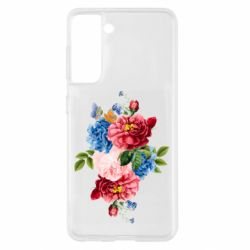 Чохол для Samsung S21 Flowers and butterfly