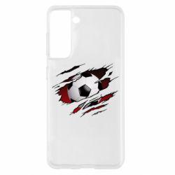 Чохол для Samsung S21 Football ball  through the T-Shirt