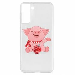 Чохол для Samsung S21+ Funny pig with a Christmas toy