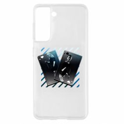 Чехол для Samsung S21 Gambling Cards The Witcher and Cyrilla