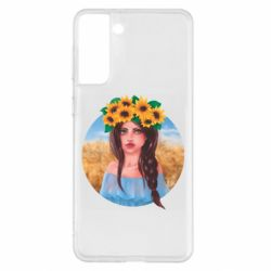 Чехол для Samsung S21+ Girl in a wreath of sunflowers