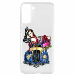 Чехол для Samsung S21+ Girl with a retro car