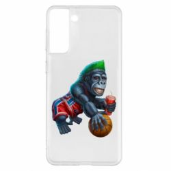 Чехол для Samsung S21+ Gorilla and basketball ball
