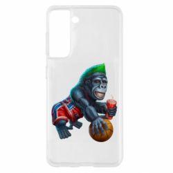 Чехол для Samsung S21 Gorilla and basketball ball