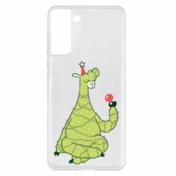 Чехол для Samsung S21+ Green llama with a garland