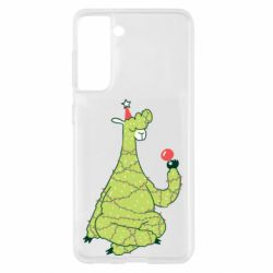 Чехол для Samsung S21 Green llama with a garland