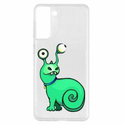 Чехол для Samsung S21+ Green monster snail
