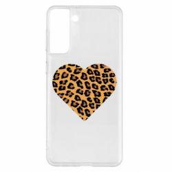 Чехол для Samsung S21+ Heart with leopard hair