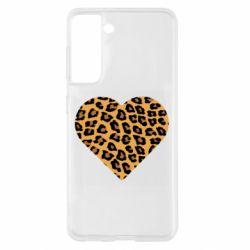 Чехол для Samsung S21 Heart with leopard hair