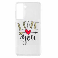 Чохол для Samsung S21 I love you and heart