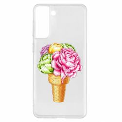 Чохол для Samsung S21+ Ice cream flowers