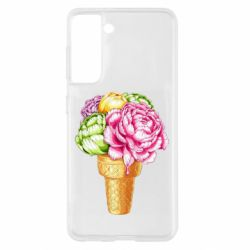 Чохол для Samsung S21 Ice cream flowers