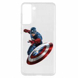 Чехол для Samsung S21+ Капитан Америка