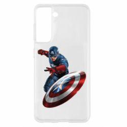 Чехол для Samsung S21 Капитан Америка