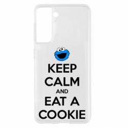 Чехол для Samsung S21 Keep Calm and Eat a cookie