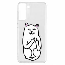 Чехол для Samsung S21+ Кот с факом