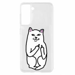 Чехол для Samsung S21 Кот с факом