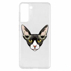 Чохол для Samsung S21+ Котя сфінкс жовті очі