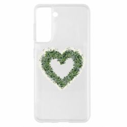 Чехол для Samsung S21 Lilies of the valley in the shape of a heart