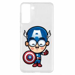 Чехол для Samsung S21+ Маленький Капитан Америка