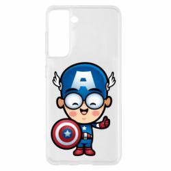 Чехол для Samsung S21 Маленький Капитан Америка