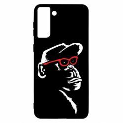 Чохол для Samsung S21+ Monkey in red glasses