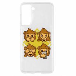 Чехол для Samsung S21 Monkey See Hear Talk
